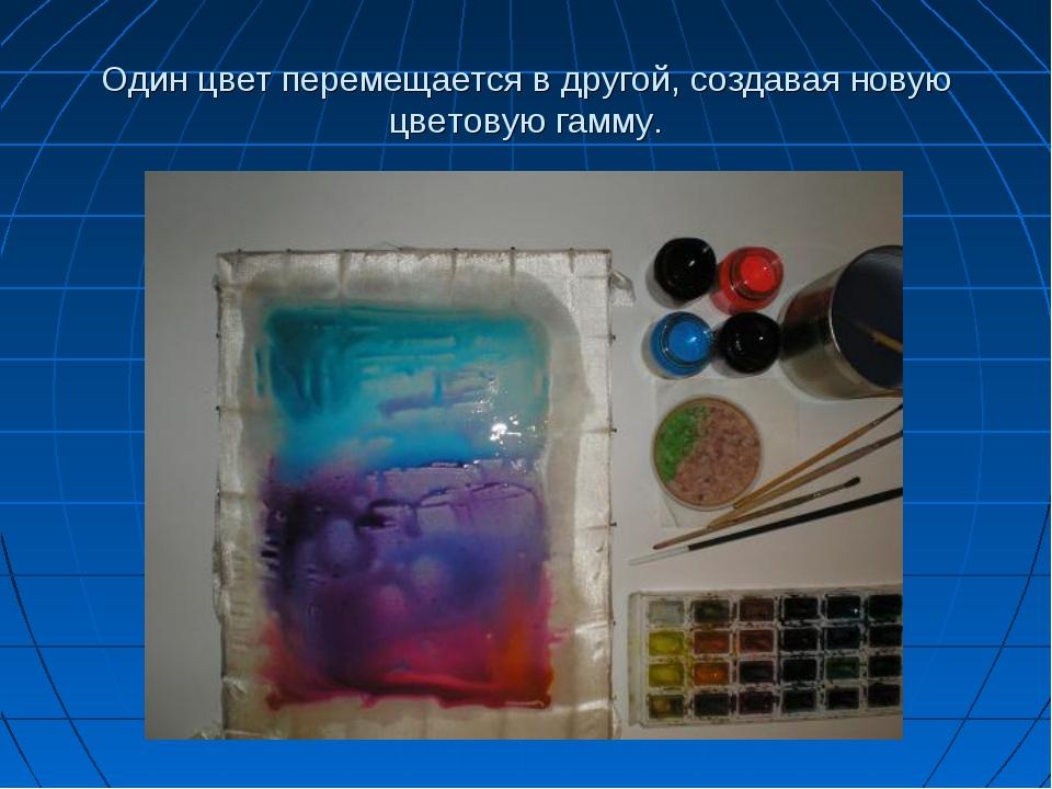Один цвет перемещается в другой, создавая новую цветовую гамму.