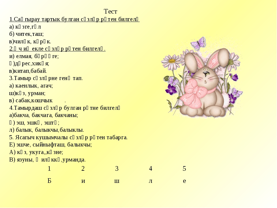 Тест 1.Саңгырау тартык булган сүзләр рәтен билгелә а) көзге,гөл б) читек,таш...
