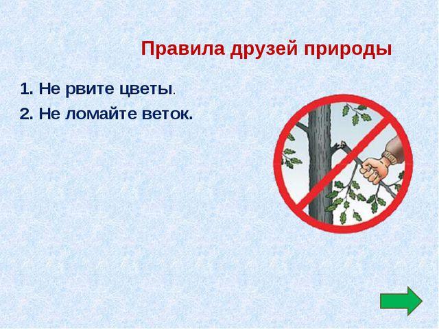 Правила друзей природы 1. Не рвите цветы. 2. Не ломайте веток.