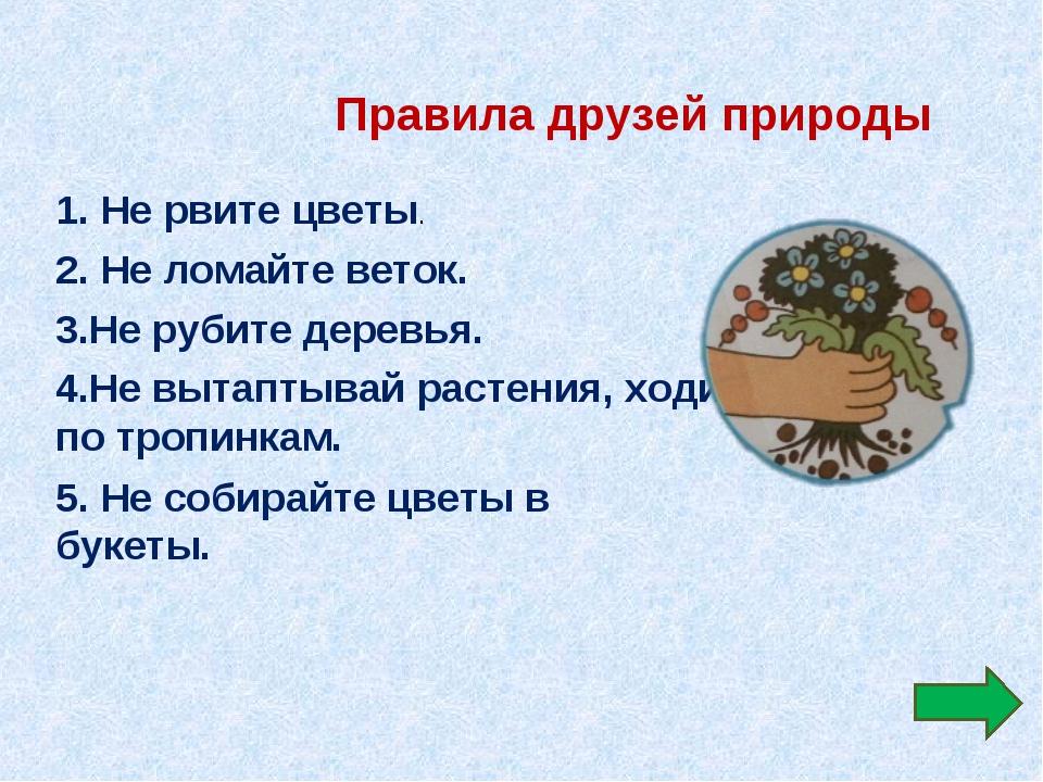 Правила друзей природы 1. Не рвите цветы. 2. Не ломайте веток. 3.Не рубите де...