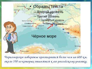 Черноморское побережье простирается более чем на 600 км, около 350 из которы