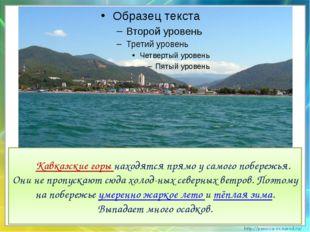 Кавказские горы находятся прямо у самого побережья. Они не пропускают сюда