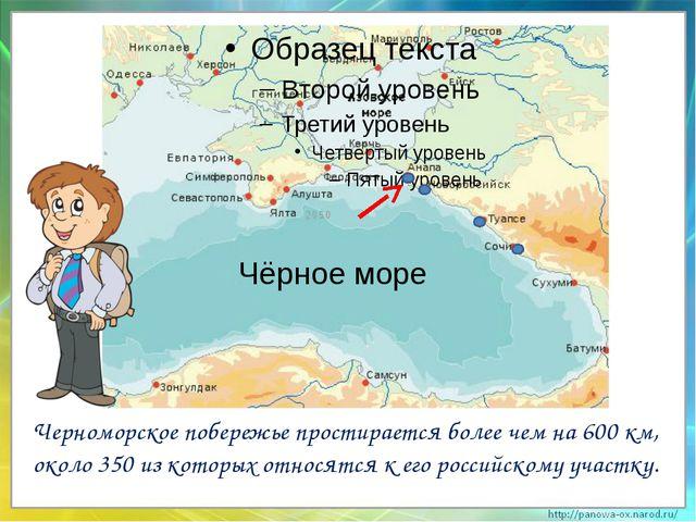 Черноморское побережье простирается более чем на 600 км, около 350 из которы...