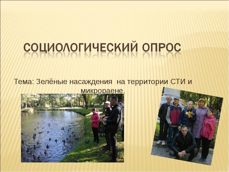 Тема: Зелёные насаждения на территории СТИ и микрораене.