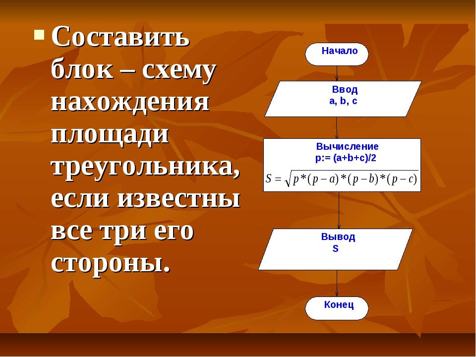 Составить блок – схему нахождения площади треугольника, если известны все три...