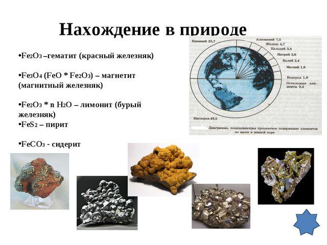 Нахождение в природе Fe2O3 –гематит (красный железняк) Fe3O4 (FeO * Fe2O3) –...