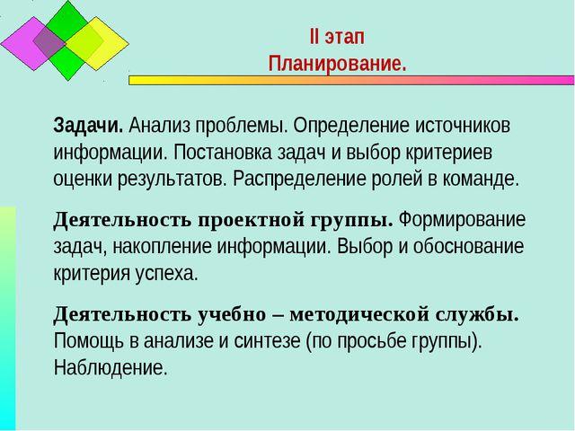 II этап Планирование. Задачи. Анализ проблемы. Определение источников информа...