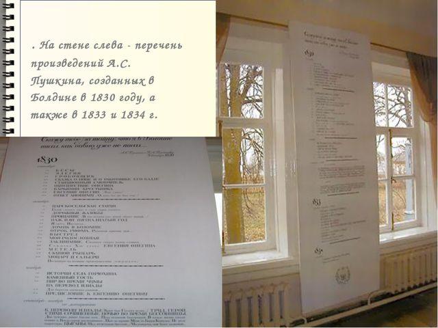 . На стене слева - перечень произведений А.С. Пушкина, созданных в Болдине в...