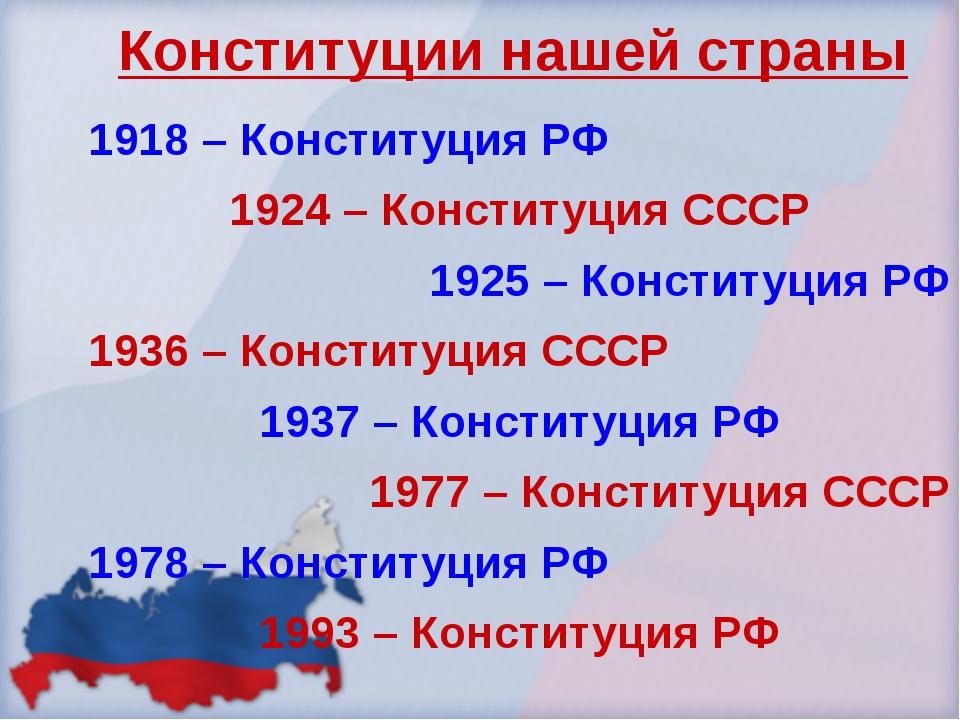 Конституции нашей страны 1918 – Конституция РФ 1924 – Конституция СССР 1925 –...