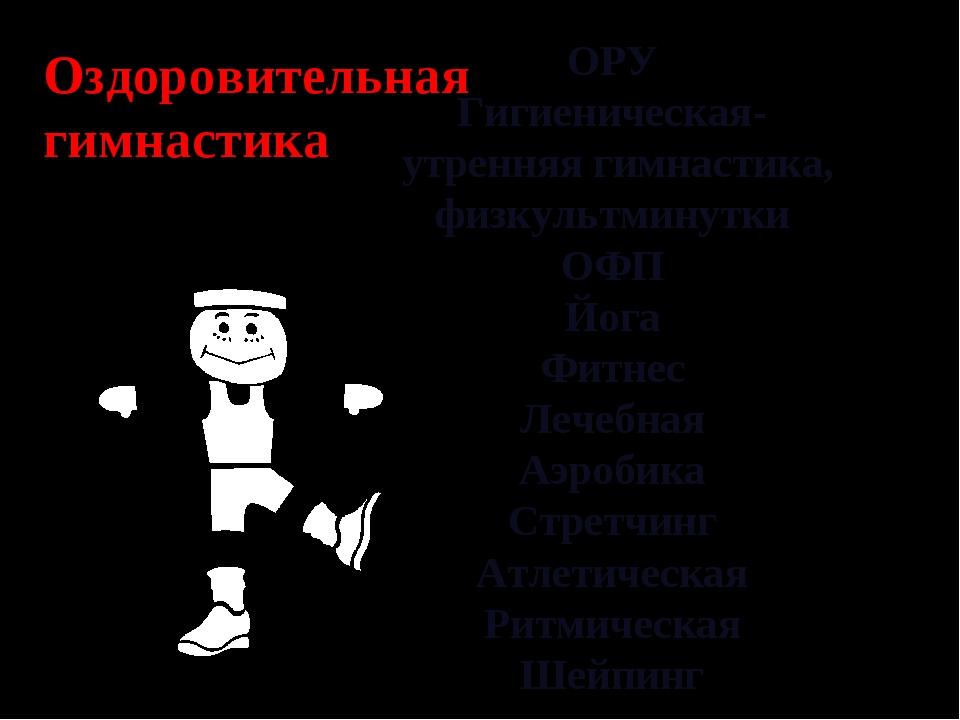 ОРУ Гигиеническая- утренняя гимнастика, физкультминутки ОФП Йога Фитнес Лечеб...
