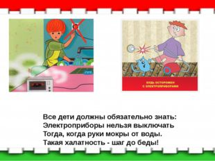 Все дети должны обязательно знать: Электроприборы нельзя выключать Тогда, ког