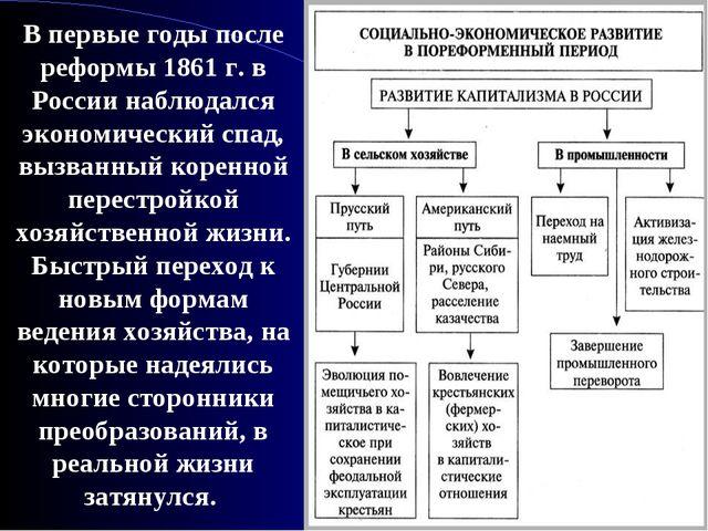 В первые годы после реформы 1861 г. в России наблюдался экономический спад, в...