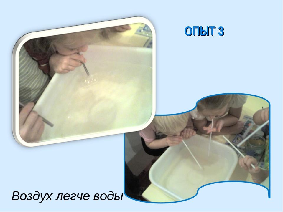 ОПЫТ 3 Воздух легче воды