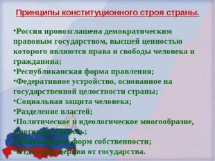 Принципы конституционного строя страны. Россия провозглашена демократическим