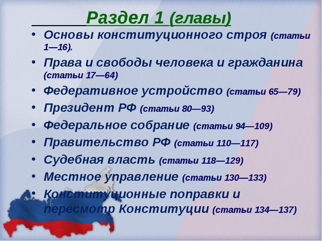 Раздел 1 (главы) Основы конституционного строя (статьи 1—16). Права и свобод...