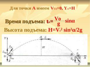 Время подъема: tA= Vo g sinα Высота подъема: H=V0² sin²α/2g Для точки А имеем