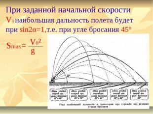 При заданной начальной скорости V0 наибольшая дальность полета будет при sin2