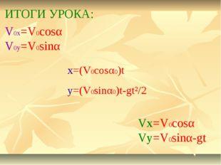 ИТОГИ УРОКА: x=(V0cosα0)t y=(V0sinα0)t-gt²/2 V0x=V0cosα V0y=V0sinα Vx=V0cosα