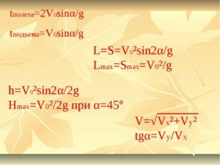 tполета=2V0sinα/g tподъема=V0sinα/g h=V0²sin2α/2g Hmax=V0²/2g при α=45° L=S=V