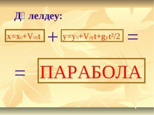 Дәлелдеу: x=x0+V0xt + y=y0+V0yt+gyt²/2 = ПАРАБОЛА =