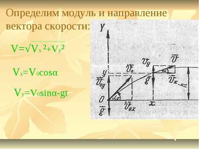 Определим модуль и направление вектора скорости: V=√Vx ²+Vy² Vx=V0cosα Vy=V0s...