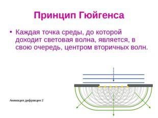 Принцип Гюйгенса Каждая точка среды, до которой доходит световая волна, являе
