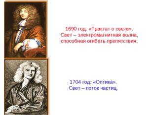 1690 год: «Трактат о свете». Свет – электромагнитная волна, способная огибать