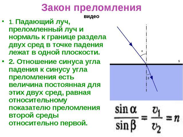 Закон преломления видео 1. Падающий луч, преломленный луч и нормаль к границе...