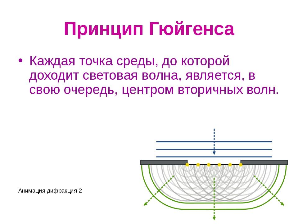 Принцип Гюйгенса Каждая точка среды, до которой доходит световая волна, являе...