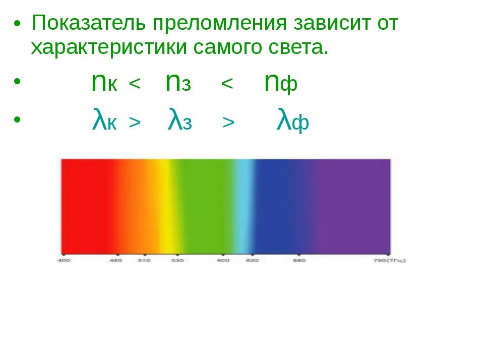 Показатель преломления зависит от характеристики самого света. nк < nз < nф λ...