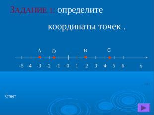А В ЗАДАНИЕ 1: определите координаты точек . Ответ