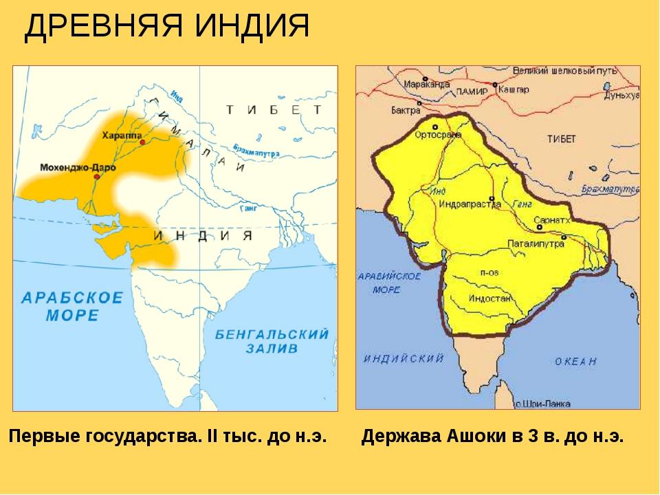 Первые государства. II тыс. до н.э. Держава Ашоки в 3 в. до н.э. ДРЕВНЯЯ ИНДИЯ