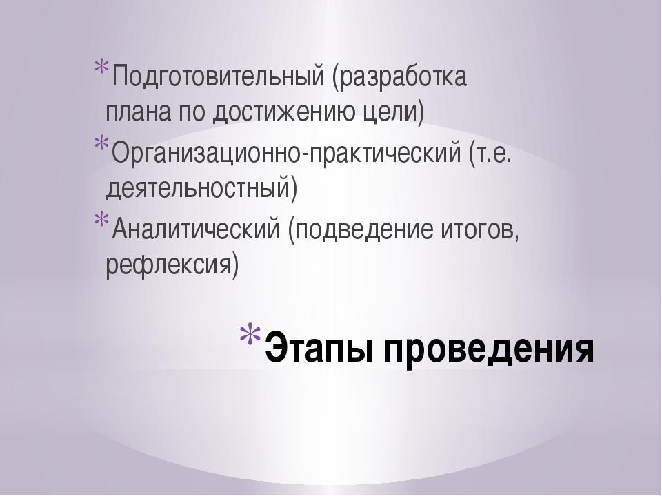 Этапы проведения Подготовительный (разработка плана по достижению цели) Орган...