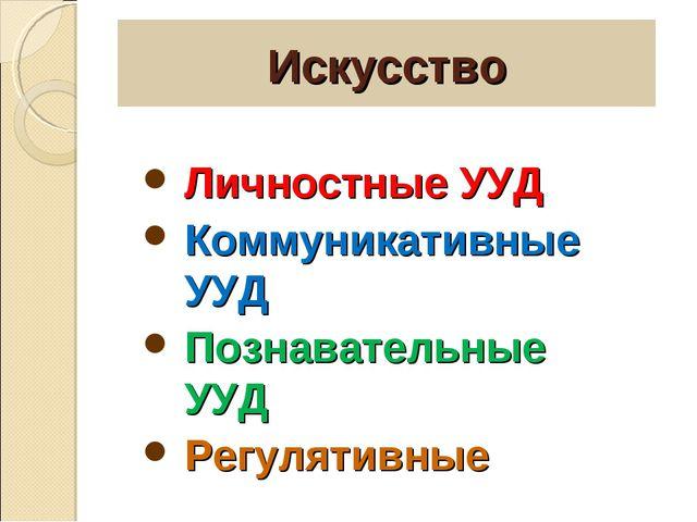 Искусство Личностные УУД Коммуникативные УУД Познавательные УУД Регулятивные