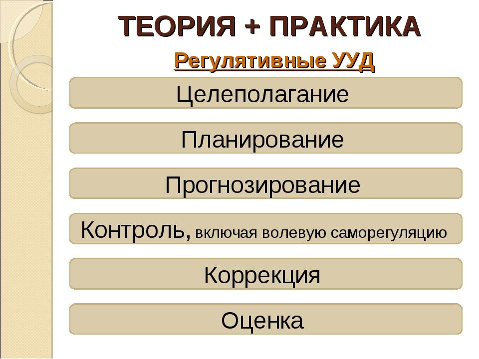 ТЕОРИЯ + ПРАКТИКА Регулятивные УУД Целеполагание Планирование Прогнозирование...