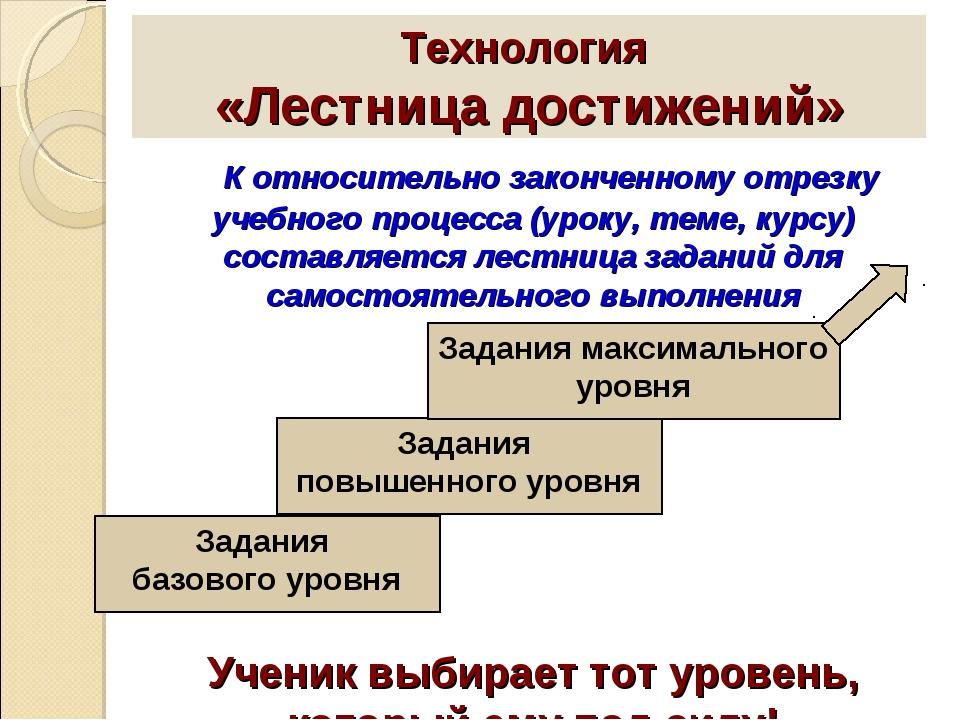 Технология «Лестница достижений» К относительно законченному отрезку учебного...