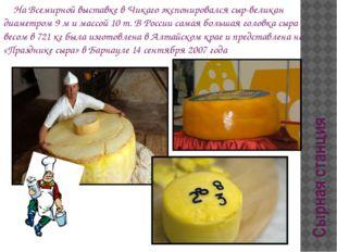 Сырная станция На Всемирной выставке в Чикаго экспонировался сыр-великан диам