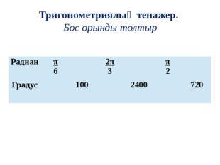 Тригонометриялық тенажер. Бос орынды толтыр Радиан π 6 2π 3 π 2 Градус 100 24