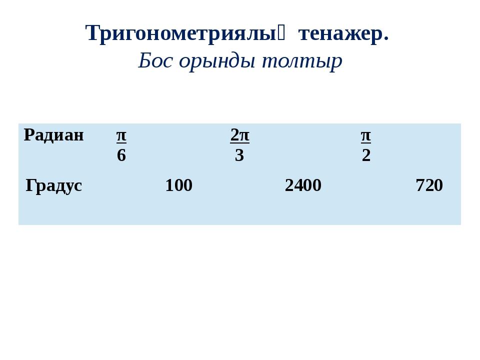Тригонометриялық тенажер. Бос орынды толтыр Радиан π 6 2π 3 π 2 Градус 100 24...