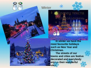 Winter In winter we have the most favourite holidays such as New Year and Chr
