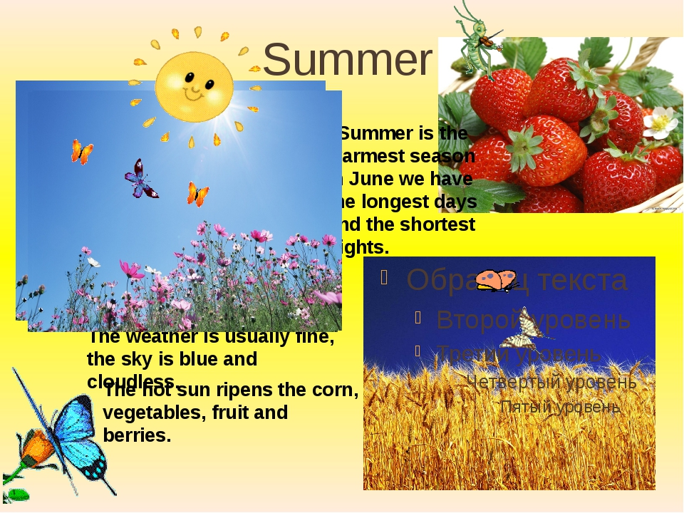 Summer Summer is the warmest season In June we have the longest days and the...