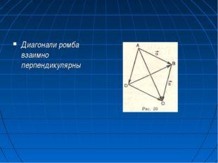 Диагонали ромба взаимно перпендикулярны