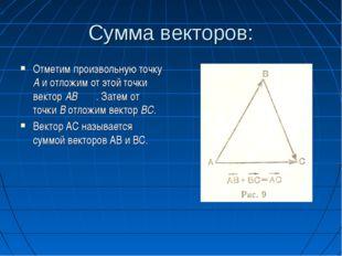 Сумма векторов: Отметим произвольную точку А и отложим от этой точки вектор А