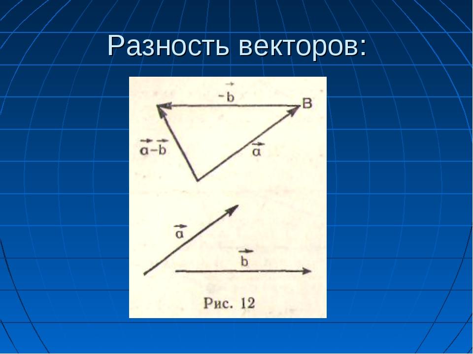 Разность векторов:
