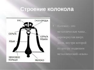 Строение колокола Колокол - это металлическая чаша , перевернутая вверх дном,