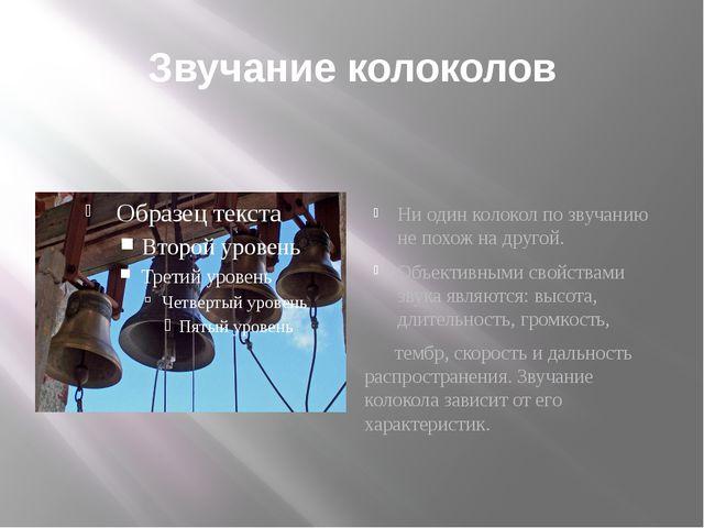 Звучание колоколов Ни один колокол по звучанию не похож на другой. Объективны...