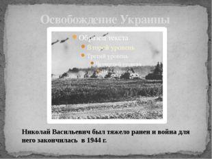 Освобождение Украины Николай Васильевич был тяжело ранен и война для него зак
