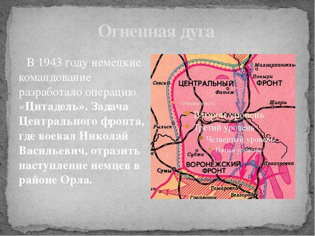 Огненная дуга В 1943 году немецкие командование разработало операцию «Цитадел...