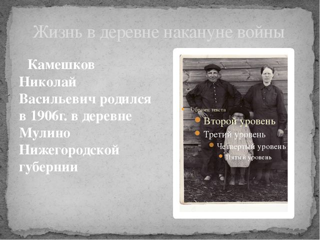Жизнь в деревне накануне войны Камешков Николай Васильевич родился в 1906г. в...