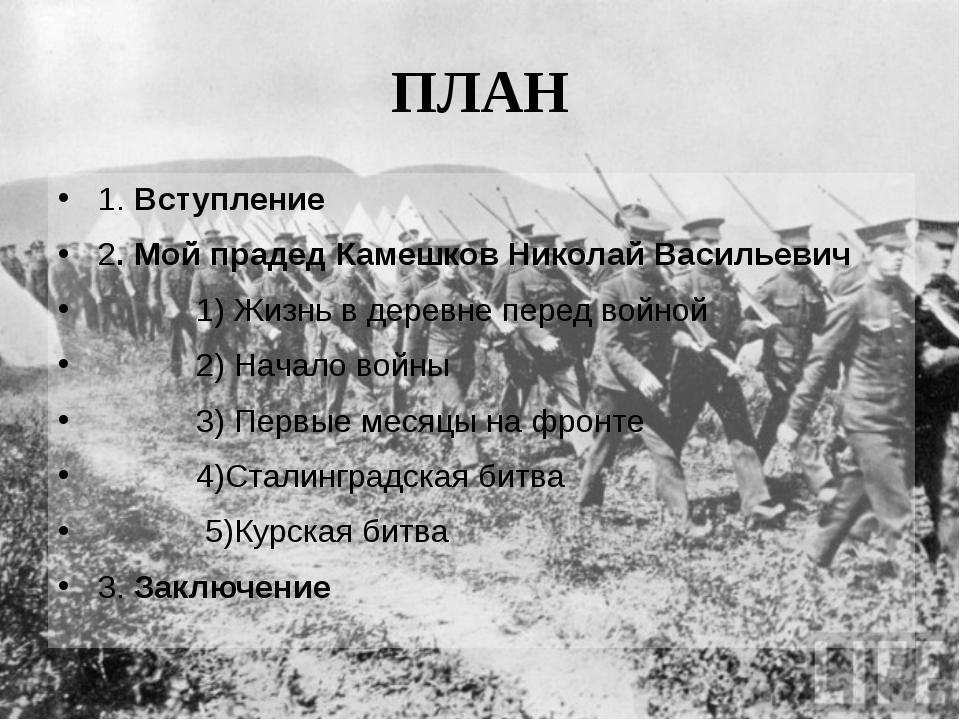 ПЛАН 1. Вступление 2. Мой прадед Камешков Николай Васильевич 1) Жизнь в дерев...